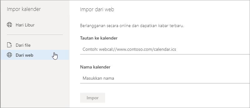 Cuplikan layar mengimpor dari opsi web