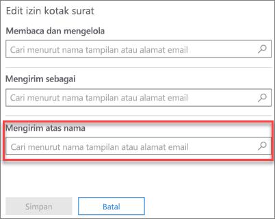 Cuplikan layar: Mengizinkan pengguna lain untuk mengirim email atas nama pengguna ini