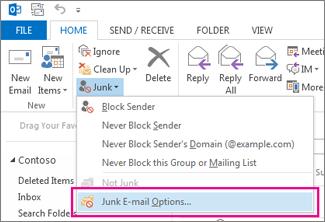 Menu Sampah di Outlook 2013