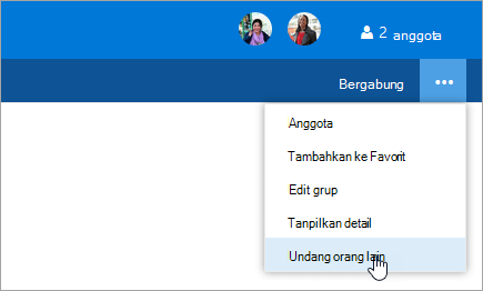 Cuplikan layar undang orang lain tombol pada menu pengaturan grup.