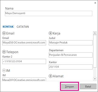 Menambahkan kontak baru ke Outlook dari pesan