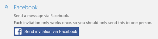 """Cuplikan layar close-up bagian """"Facebook"""" dari kotak dialog """"Tambahkan seseorang"""" dengan tombol """"Kirim undangan melalui Facebook""""."""