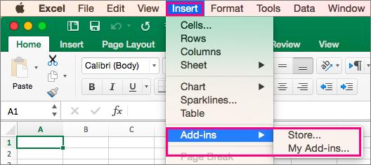 Memperlihatkan sisipkan > Add-in alur di Office 2016 untuk Mac.