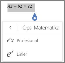 Menampilkan format persamaan matematika