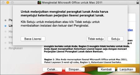 Cuplikan layar jendela untuk menyetujui perjanjian lisensi perangkat lunak