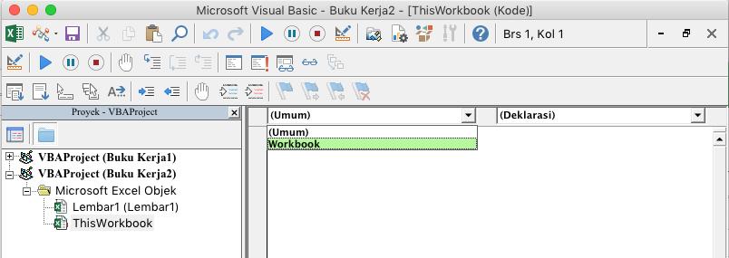 VBE memperlihatkan daftar menurun pilihan objek