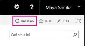 Cuplikan layar kontrol Berbagi untuk berbagi situs