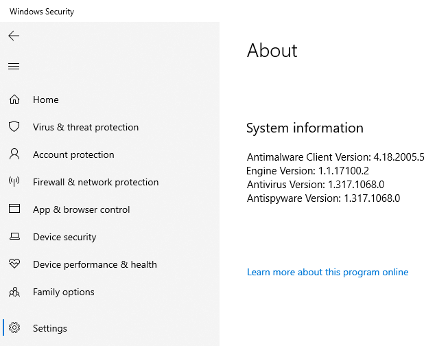 The About screen of Windows Security shows the currently installed versions of the Windows Security tools.