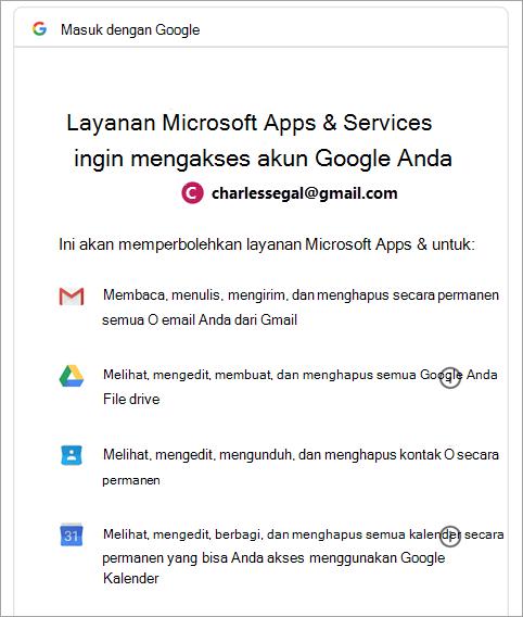 meminta izin Google