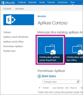 Petak Distribusikan Aplikasi untuk SharePoint pada situs Katalog Aplikasi