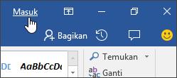 Cuplikan layar memperlihatkan tautan masuk di aplikasi desktop Office