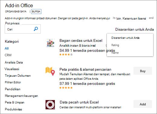 """Cuplikan layar bagian toko dari halaman Add-in Office, di mana Anda bisa menelusuri Add-in berdasarkan pemeringkatan, nama, atau menggunakan opsi """"disarankan untuk Anda"""". Anda juga dapat menggunakan kotak pencarian untuk menemukan Add-in."""