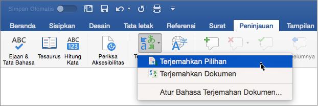 Tab Peninjauan dengan Terjemahkan Pilihan disorot