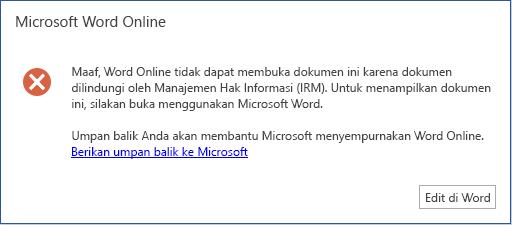 Maaf, Word online tidak bisa membuka dokumen ini karena dilindungi oleh manajemen hak informasi (IRM). Untuk menampilkan dokumen ini silakan buka dokumen di Microsoft Word.
