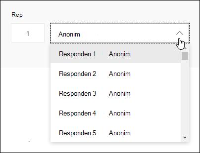 Menampilkan daftar turun bawah responden di Microsoft Forms