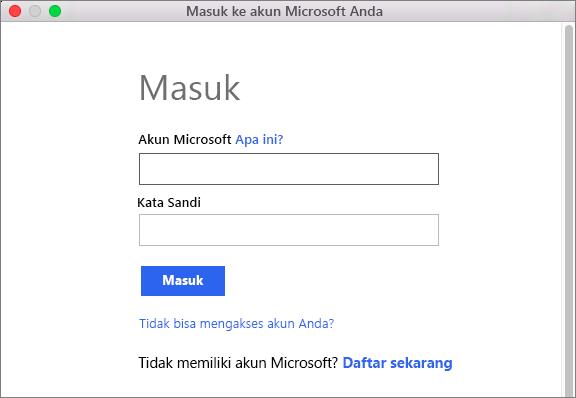 Masukkan kredensial akun Microsoft Anda untuk mengakses layanan yang terkait dengan akun Anda.