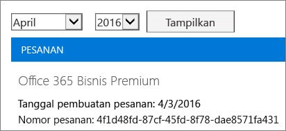Cuplikan layar halaman Tagihan di Pusat Admin Office 365.