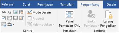 Pada tab pengembang, dalam grup kontrol, klik Properti
