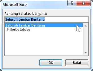 Kotak dialog Microsoft Excel di Word