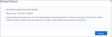 Cuplikan layar: Kaizala ekspor halaman Riwayat