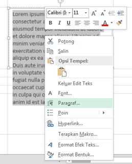 Pada menu klik kanan, klik Paragraf.