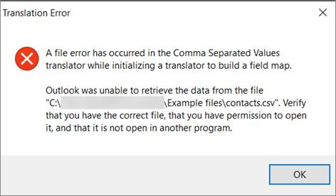 Ini adalah pesan kesalahan yang akan Anda dapatkan ketika .csv file kosong.