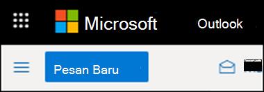 Tampilan pita dalam Outlook di web.