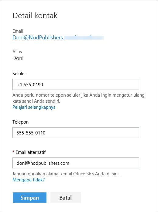 Panel Detail kontak dalam mode edit.