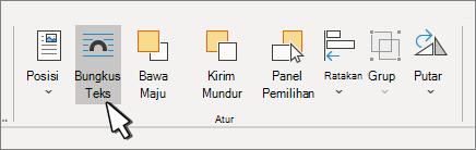 Format gambar > panel susun dengan bungkus teks dipilih