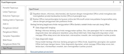 Bagian Opsi Privasi dari Pengaturan Pusat Kepercayaan di Office untuk Windows