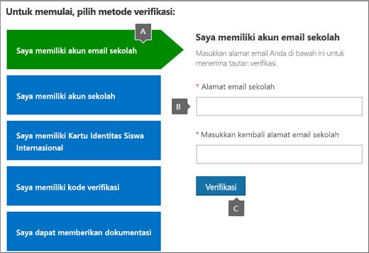Halaman verifikasi akademik.
