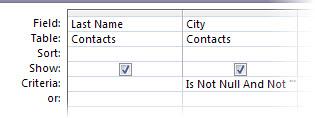 perancang kueri dengan kriteria bidang Kota diatur ke tidak null atau tidak kosong.