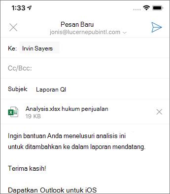 Membuat email baru di Outlook Mobile