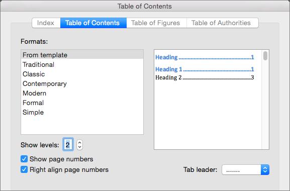 Di kotak dialog Daftar Isi, pada tab Daftar Isi, pilih pengaturan untuk daftar isi dokumen Anda.