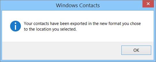 Anda akan melihat pesan akhir yang menyatakan bahwa kontak telah diekspor ke file csv.