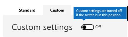 Cuplikan layar ini memperlihatkan filter anti-spam kustom pengaturan kebijakan dinonaktifkan.