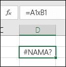 Kesalahan #NAME? ketika menggunakan x dengan referensi sel, bukannya * untuk perkalian