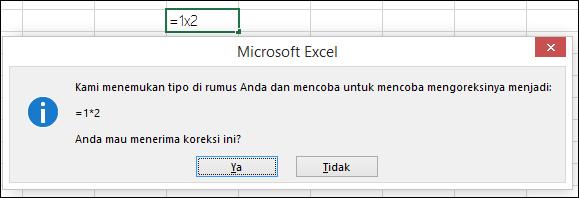 Kotak pesan meminta untuk mengganti x dengan * untuk perkalian