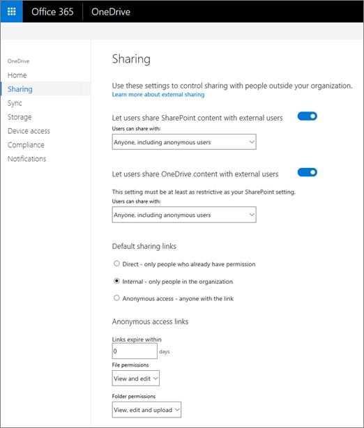 Tab berbagi dari Pusat admin OneDrive