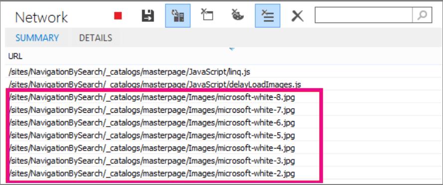 Cuplikan layar memperlihatkan beberapa gambar dimuat di halaman