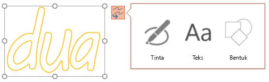 Mengonversi tinta menunjukkan objek yang bisa digunakan untuk mengonversi objek yang dipilih.
