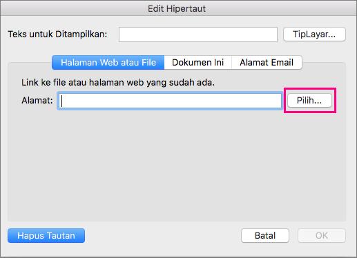 Memperlihatkan dialog Sisipkan Hyperlink di PowerPoint 2016 untuk Mac