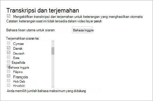 Mengaktifkan transkripsi dan terjemahan