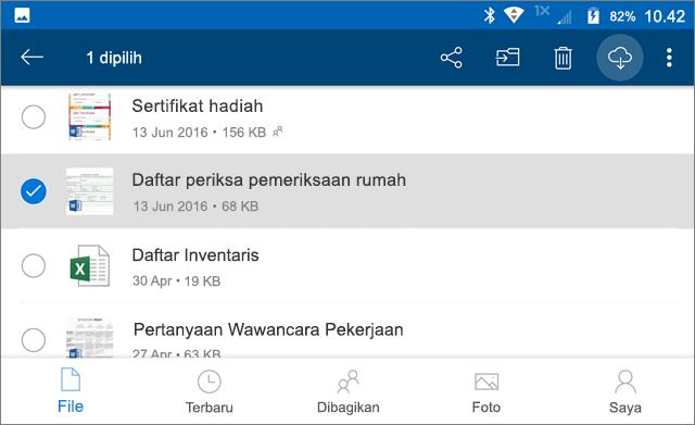 Tandai file OneDrive untuk offline