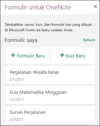 Formulir untuk panel OneNote di OneNote untuk web