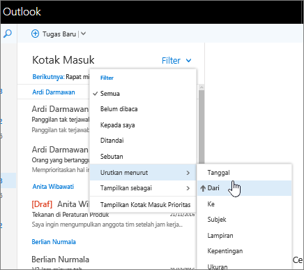Cuplikan layar Kotak Masuk, dengan Filter > Urutkan berdasarkan > Dari dipilih.