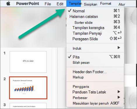 Menu tampilan di PowerPoint