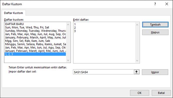 Menambahkan item daftar kustom secara manual dengan mengetikkannya dalam dialog Edit Daftar Kustom dan menekan Tambahkan