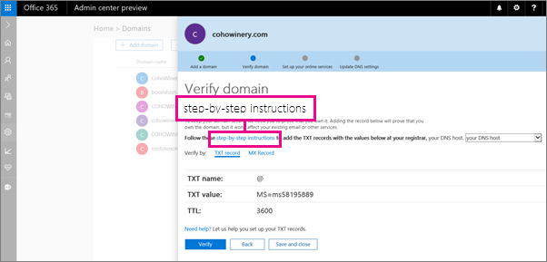 Di halaman Verifikasi, ikuti instruksi untuk menambahkan rekaman TXT di host DNS Anda.