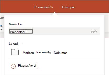Klik nama file di tengah bilah judul di dekat bagian atas jendela browser.